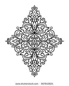 vector, illustration, east, outline, floral ornament, tattoo