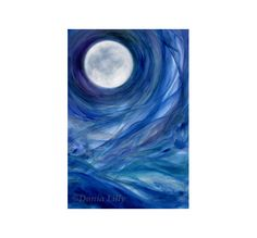 Full Moon painting: metal print of acrylic (blue, purple, green, white) original Moon art, Moontides II, by Kauai fine artist Donia Lilly on Etsy, $80.00