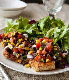 Grilled chicken and black bean salsa. This recipe is fantastic. I cooked it indoors in frying pan with PAM & olive oil!