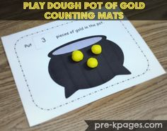 St. Patrick's Day Pot of Gold Play Dough Counting Mats for Preschool via www.pre-kpages.com