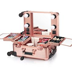 Buy Ovonni Small LED Makeup Train Case, Lighted Rolling Travel Portable Cosmetic Organizer Box with Mirror and 4 Detachable Wheels, Professional Artist Trolley Studio Free Standing Workstation, Rose Gold