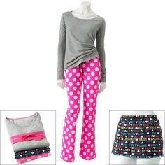 SO® 3-pc. Printed Pajama Gift Set - Juniors' ($20) ❤ liked on Polyvore