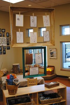 Love the idea of using empty frames to display children's work in the classroom