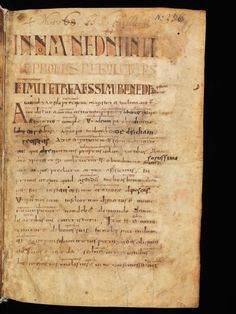 A 9th-century copy of the Rule of Benedict from the Library at Einsiedeln Abbey in Switzerland.
