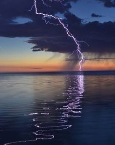 Lightening reflecting off the water