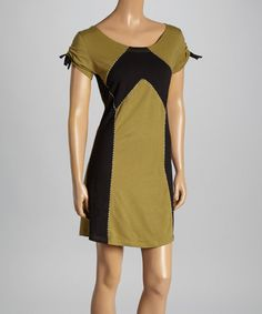 Look what I found on #zulily! Olive & Black Color Block T-Shirt Dress - Women #zulilyfinds