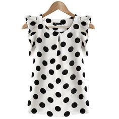 Cotton Blouses New 2017 Summer Women Kawaii Polka Dot Printing Short Sleeve Shirt Tops Plus Size Blusas Shirts Haut Femme Blouse Summer Blouses, Summer Tops, Casual Summer, Women's Casual, Summer Vest, White Casual, Casual Party, Casual Wear, Chiffon Shirt