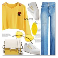 """""""Cut Out Neck Rose Patch Tee"""" by ilona-828 ❤ liked on Polyvore featuring Victoria Beckham, Marni, StreetStyle and polyvoreeditorial"""