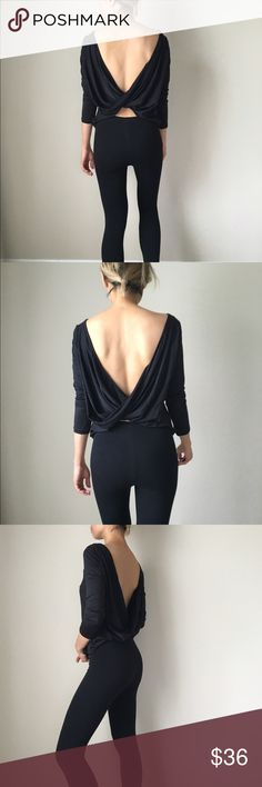 Open back twist top Open back twist top in black. Long sleeve. Poly spandex fabric . KC Tops Blouses