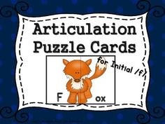 Articulation, puzzle cards, initial /f/ words, parent letter, full color, black and white pictures, interactive VelcroThis unit includes;15 Color puzzle cards15 Black and white homework cardsStorage cards to keep your puzzle pieces Parent letter to send homePrint the color cards on card stock, laminate, and cut out.