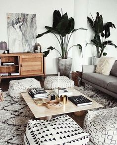 Coziest living room. Love the live plants and neutral tones. #roomdecor #homedecorating #decorideas #neutraldecor