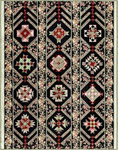 Bordered Rows Block of the Month by Marti Michell Sampler Quilts, Star Quilts, Quilt Sets, Quilt Blocks, Homemade Quilts, Marti, Civil War Quilts, Quilt Border, Cotton Quilts