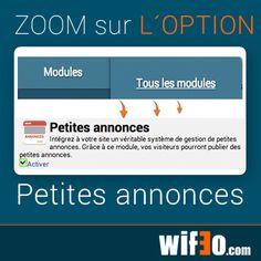 """Zoom sur le nouveau module """"Petites annonces"""" Intégrez à votre site un véritable système de gestion de petites annonces, vos visiteurs pourront ainsi publier des petites annonces #petitesannonces #créerunsite"""