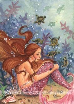 ✯ Mermaid and Baby Turtles .. By *JoannaBromley*✯