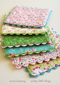 make cute pot holders with old quilts, batting, iron = on stabilizer and trims