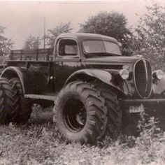 An old Ford truck all jacked up....cool!