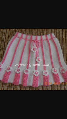 Etek Baby Knitting Patterns, Crochet Patterns, Crochet Baby, Free Crochet, Sweater Design, Easy Knitting, Knit Skirt, Baby Sweaters, Baby Girl Dresses
