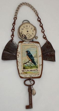 I listed a few new pieces on etsy that you may want to check out. I really like the way this guy turned out. I have a lot of old pocket watches that I am using these days. I found... Found Object Jewelry, Found Object Art, Found Art, Trash Art, Tin Art, Mixed Media Jewelry, Scrap Metal Art, Recycled Art, Repurposed