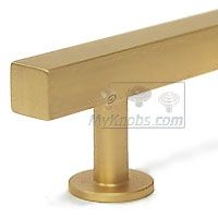 Lews Hardware Bar Pull Collection - 3 inch (76mm) Bar Pull 5.0 inch O/A in Brushed Brass - ( 31-102 ) - additional view