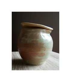 Handmade Pottery, Ceramic Vase/Flower Pot - Rustic, Organic Form, Vintage-Inspired, Pale Seafoam and Reddish-Brown and Beige Distressed Look by Katieclectic on Etsy