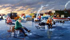In Ken Zylla Back In The Day print there is Ice Fishing and Snowmobiling from years ago--vintage cars and sleds have brought the hopeful fishermen to the lake.