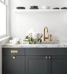 Dark Grey Cabinets Dark Gray Kitchen Cabinets Accented With Aged Brass Knobs Vintage Brass Inset Pulls And Dark Grey Kitchen Cabinets With White Appliances Kitchen Cabinet Design, Kitchen Colors, Kitchen Backsplash, Kitchen Interior, New Kitchen, Subway Backsplash, Kitchen White, Kitchen Decor, Kitchen Island