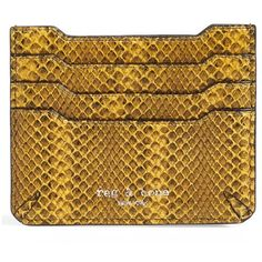 rag & bone 'Crosby' Snakeskin Embossed Leather Card Case (470 SAR) ❤ liked on Polyvore featuring bags, wallets, yellow viper, pocket wallet, leather card case wallet, embossed leather wallet, snake skin wallet and leather travel wallet
