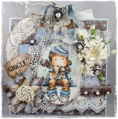 Crafteezee: Winter at LLC.  Winter Skates Tilda from Magnolia stamps.