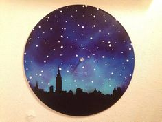 NYC Skyline  Painted Record Wall Art by valderie on Etsy, $25.00