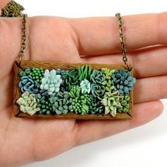 Succulent jewelry polymer clay pendant plant by sofoxyclay