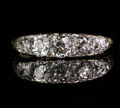 Victorian 2.1 carat Diamond 18k Gold Five Stone Ring / Old Mine Rose Cut / Scrolled Gallery Filigree