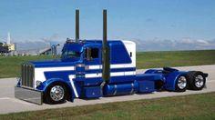 Blue and white Peterbilt Peterbilt 359, Peterbilt Trucks, Custom Peterbilt, Show Trucks, Big Rig Trucks, Custom Big Rigs, Custom Trucks, Big Ride, Semi Trailer