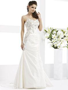 trumpet+bridal+gowns | Trumpet/Mermaid Sweetheart Satin Floor-length White Appliques Wedding ...
