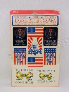 Button Up Support Our Troops Desert Storm Patriotic Sticker Collection 1991 New #ButtonUp