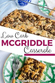 The popular McDonald's McGriddle sandwich is now a low carb breakfast casserole from Keto in Pearls! This breakfast casserole combines gluten-free pancakes, sausage, and maple syrup to make a delicious twist on this fast-food classic. Start your day off right with breakfast. This casserole would be the perfect start to your day. You can even make it ahead of time! #breakfast #breakfastcasserole #ketocasserole #ketobreakfast #copycatrecipes #copycat