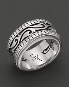38333dc850 Scott Kay Men's Sterling Silver Engraved Sparta Band Ring_0 Ringe,  Anziehen, Schmuck, Armbänder