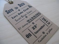 Vintage This old world collection takes its inspiration from the past. The ticket-style invitation and tag-style save the date suit a vintage themed wedding perfectly. Work this collection into a wider vintage theme with old fashioned type writers, battered suitcases, old books and more.