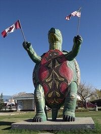 This Roadside Attraction is on Mountain Street at Mill Road (Hwy 10) on the south side of Boissevain, Manitoba.