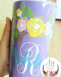 Floral Monogram Decal Customizable Decal by SophieBreannaDesigns