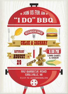 """""""I Do"""" BBQ retro Wedding Invitations. If you don't want to get married because it's one of those arranged marraiges, at least you'll get some food out of it. #I_Do_BBQ_Invitations"""