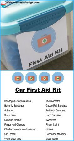 A Car First Aid Kit can really help with unexpected issues! Perfect for busy fam… A Car First Aid Kit can really help with unexpected issues! Perfect for busy families, travel and day to day emergencies. This is a quick and easy DIY first aid kit. Diy First Aid Kit, First Aid For Kids, Camping First Aid Kit, Children's Medicine, Emergency Preparedness Kit, Survival Kits, Emergency Kit For Car, Hurricane Preparedness, Family Emergency