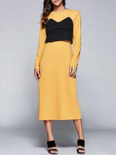 Maxi Dresses | Yellow Round Neck Long Sleeve Back Slit Popover Dress - Gamiss
