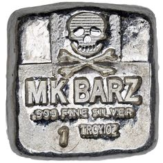 1 oz MK Barz Hand Poured Pirate Silver Square (Jolly Roger Style, New) Jolly Roger, Silver Bars, 1 Oz, Buy 1, Dog Tag Necklace, Pirates, Hands, Stuff To Buy, Jewelry