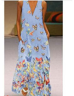 Plus size bohemian long maxi dress Women sleeveless v neck sexy beach sundress Casual loose butterfly dress robe femme vestidos, Blue / XXL Boho Summer Dresses, Summer Dresses For Women, Boho Dress, Casual Dresses, Maxi Dresses, Dress Summer, Long Dresses, Cotton Dresses, Chiffon Dresses
