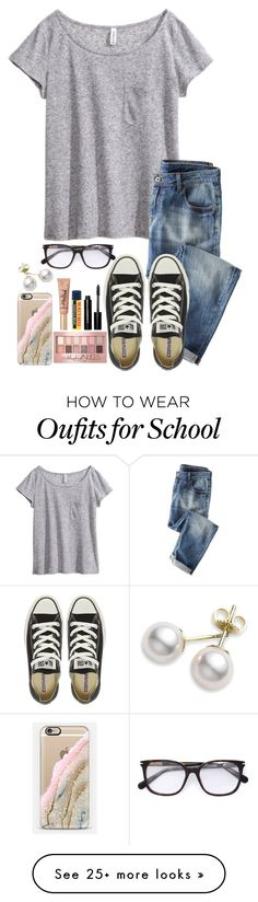 """""""~ugh I have so much school to do~"""" by simply-natalee on Polyvore featuring H&M, Wrap, Converse, Marc Jacobs, Mikimoto, Casetify, Maybelline, Bobbi Brown Cosmetics, Burt's Bees and Too Faced Cosmetics"""