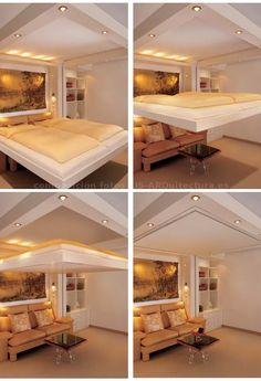 Cama LiftBed que se guarda en el techo de la habitación
