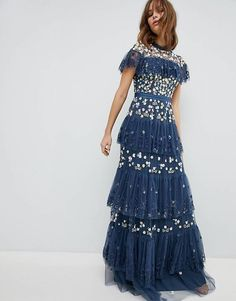 Needle & Thread Tiered Anglais Gown with Contrast Embroidery