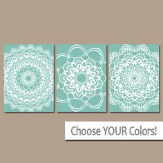 ★AQUA BATHROOM Wall Art, CANVAS or Prints Bedroom Artwork, Bathroom Pictures, Tribal Mandala Home Decor Set of 3 Choose Your Colors  ★Includes 3 pieces of wall art ★Available in PRINTS or CANVAS (see below)  ★SIZING OPTIONS Available from the drop down menu above the add to cart button with prices. >>>  ★PRINT OPTION Available sizes are 5x7, 8x10, & 11x14 (inches). Prints are created digitally and printed with UltraChrome Hi-Gloss ink on professional 68lb satin luster photo paper...