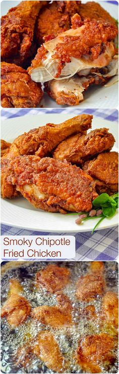 Smoky Chipotle Fried Chicken - learn how a simple seasoning brine can make the juiciest & tastiest fried chicken ever. A link to instructions for oven baking is also included. #southerncooking #comfortfood #friedchicken