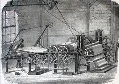 """""""Apprët des étoffes ; dernière opèration de la teinture"""".  Ilustraciones de la obra :  Les merveilles de l'industrie ou, Description des principales industries modernes / par Louis Figuier. - Paris : Furne, Jouvet, [1873-1877]. - Tome II"""
